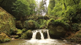 Водопад Mullerthal в Люксембурге видеоматериал