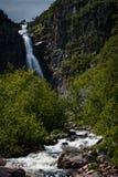 Водопад Njupeskar в северо-западной Швеции Стоковые Фотографии RF