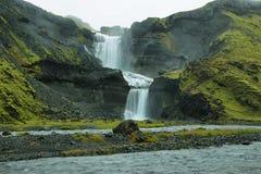 Водопад Ofaerufoss в каньоне Eldgja Стоковая Фотография RF