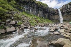 Водопад Svartifoss в национальном парке Skaftafell в Исландии Стоковое Изображение