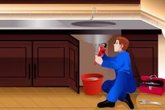Водопроводчик исправляя пропускающий влагу faucet иллюстрация штока
