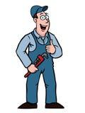 Водопроводчик с большими пальцами руки поднимает и wrench Стоковые Фото