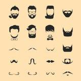 Волосы битника и усик бород иллюстрация штока