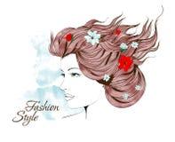 волосы девушки цветков она Стоковые Фото
