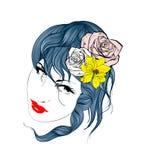 волосы девушки цветков она Стоковые Изображения RF