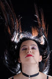 Волосы женщины бросая вверх Стоковое Фото