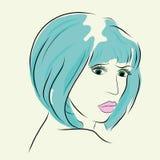 Волосы женщины моды вкратце и розовая губа Стоковые Изображения