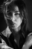 Волосы женщины дуя стоковое изображение