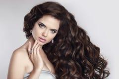 волосы красивейшая женщина портрета брюнет Привлекательная модель с Стоковое Изображение