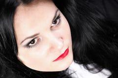 Волосы красивой женщины брюнет длинные Стоковая Фотография RF