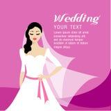 Волосы красивой невесты длинные и платье белизны конструируют Иллюстрация вектора