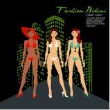 Волосы красивых женщин длинные в дизайне бикини, дизайне вектора Бесплатная Иллюстрация