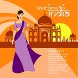 Волосы красивых женщин длинные с дизайном платья Индии, дизайном вектора Бесплатная Иллюстрация