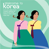 Волосы красивых женщин длинные с дизайном платья Кореи, дизайном вектора Стоковое Изображение