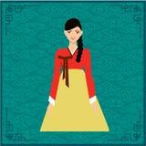 Волосы красивых женщин длинные с дизайном платья Кореи Иллюстрация штока