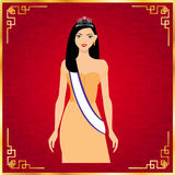Волосы красивых женщин длинные с оранжевым дизайном платья Иллюстрация вектора