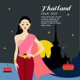 Волосы красивых женщин длинные с тайским дизайном платья Иллюстрация штока