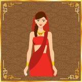 Волосы красивых женщин Индии длинные с красным дизайном платья Бесплатная Иллюстрация