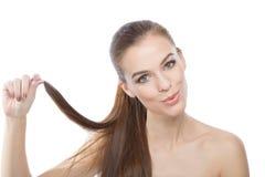 Волосы красоты ровные сильные Стоковая Фотография