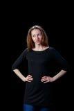 Волосы молодых женщин коричневые сердиты Стоковое фото RF