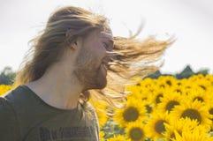 Волосы человека на ветре Стоковая Фотография RF