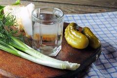 Водочка и огурец, бекон, чеснок и зеленые луки Стоковое Фото
