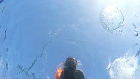 Водолаз акваланга маленькой девочки видеоматериал