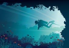 Водолаз акваланга, подводная пещера, кораллы, море иллюстрация вектора