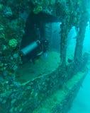Водолаз кораблекрушением и аквалангом, Мальдивы стоковые фото