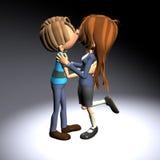 Во первых девушка мальчика поцелуя Стоковая Фотография RF