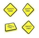 во первых предупреждение безопасности ярлыка Стоковое Изображение RF