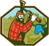 Вол сини оси LumberJack Paul Bunyan Стоковые Изображения RF