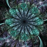 Вод-тематический темный цветок фрактали Стоковое Изображение RF