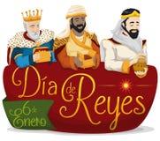 3 волхва над знаком для ` Dia de Reyes ` или явления божества, иллюстрации вектора бесплатная иллюстрация