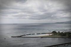 Волшебная лагуна острова в Гонолулу Гаваи с винтажными влияниями Стоковое Фото