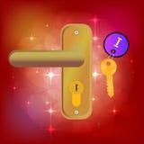Волшебная дверь золотистый ключ Keychain Яркая предпосылка с самыми интересными Абстрактные предпосылки фантазии с волшебной книг Стоковые Изображения