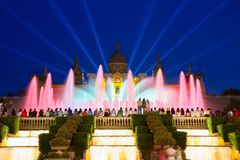 Волшебная выставка света фонтана, Барселона Стоковое Изображение