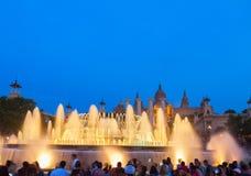 Волшебная выставка света фонтана, Барселона Стоковая Фотография RF