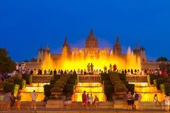 Волшебная выставка света фонтана, Барселона Стоковое Изображение RF