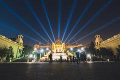 Волшебная выставка света фонтана в Барселона, Испании Стоковые Изображения RF