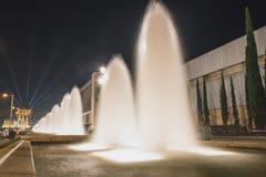 Волшебная выставка света фонтана в Барселона, Испании Стоковые Изображения