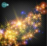 Волшебная звезда рождества на млечном пути реалистический световой эффект Изолированные звезды Прозрачная картина накаляя звезд д Стоковые Изображения RF