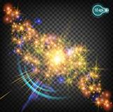 Волшебная звезда рождества на млечном пути реалистический свет Изолированные элементы вектора звезд Прозрачная картина  Стоковые Изображения RF
