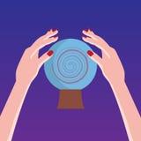 Волшебная кристаллическая сфера с руками Бесплатная Иллюстрация