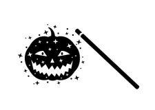 Волшебная палочка и страшная тыква Стоковая Фотография