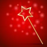 Волшебная палочка на красной предпосылке Стоковые Изображения RF