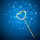 Волшебная палочка с сердцем на голубой предпосылке бесплатная иллюстрация