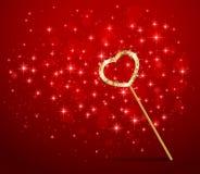 Волшебная палочка с сердцем на красной предпосылке иллюстрация вектора
