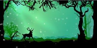 Волшебная предпосылка вектора леса зимы иллюстрация вектора
