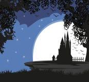 Волшебная принцесса Замок сказки в ноче Стоковое Фото